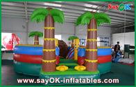 중국 0.55mm PVC 방수포 반대로 코코넛나무를 가진 팽창식 도약자 활주/수영장 - UV 공장