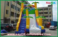 중국 놀기를 위한 재미있은/안전 PVC 방수포 팽창식 도약자 활주 노랗고/파란 색깔 공장